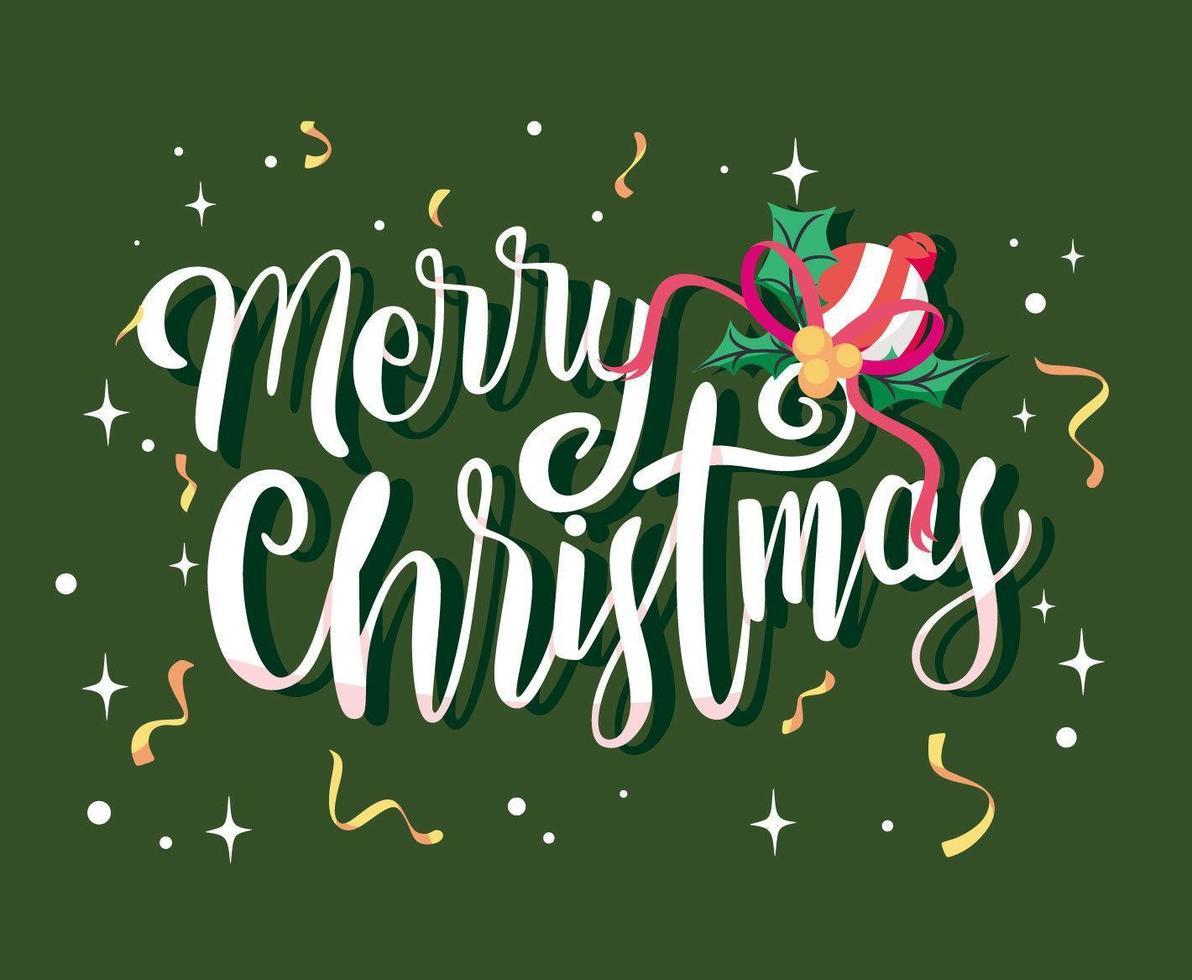 Feliz Navidad letras y confeti vector
