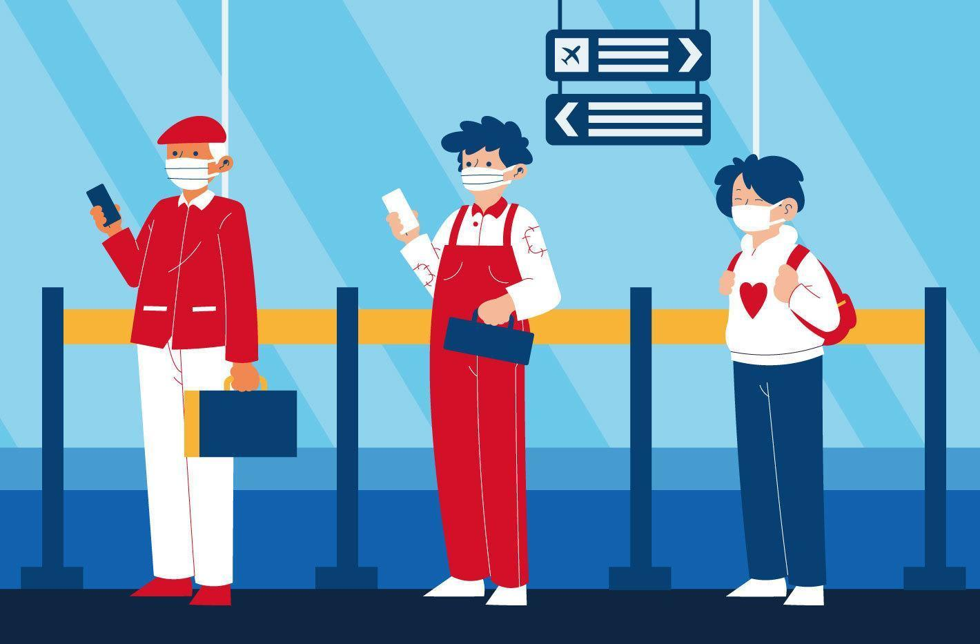 Social distancing concept with masked people in line vector