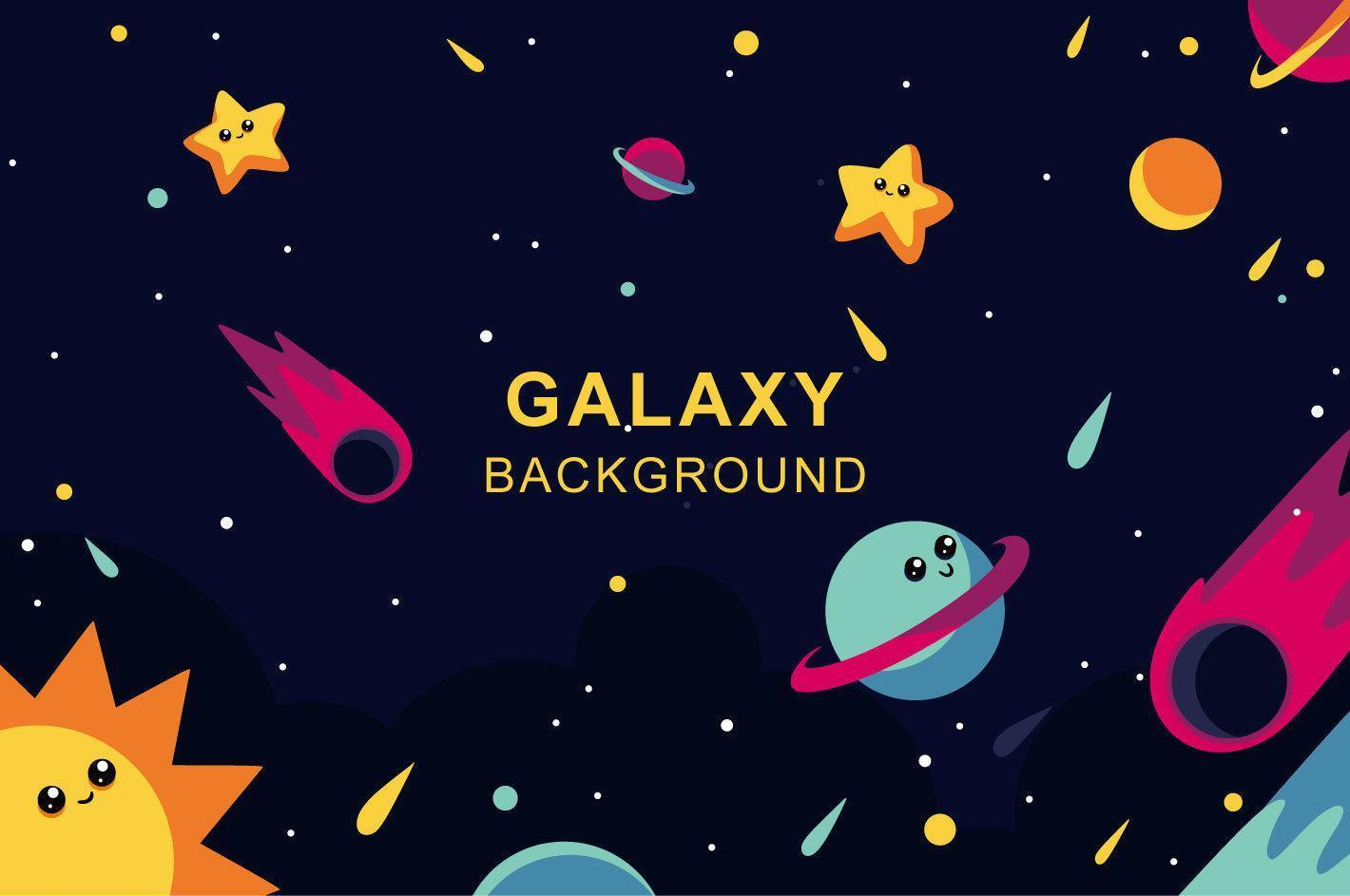 Galaxy design with happy planets and stars vector