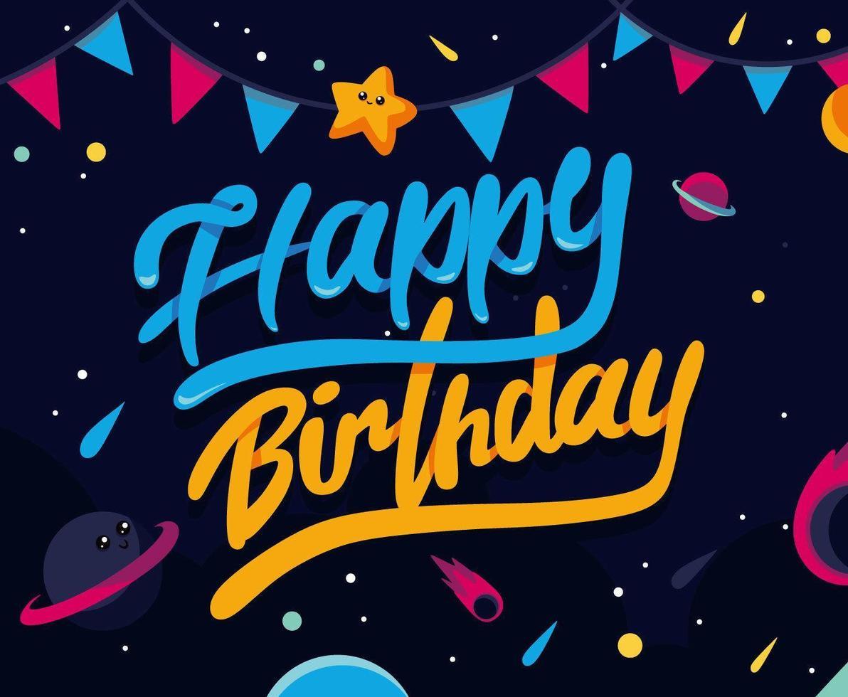 diseño de feliz cumpleaños con temática espacial vector
