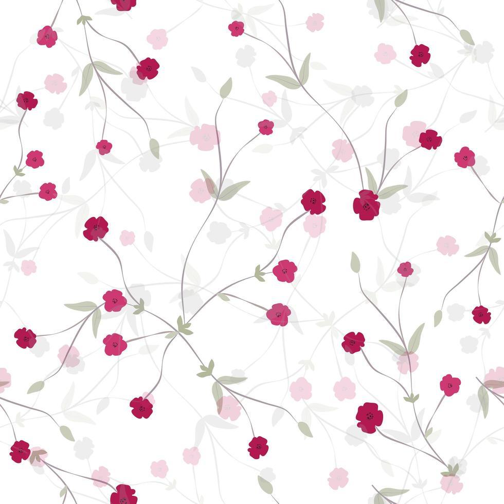 Elegante pequeño capullo rosa floral de patrones sin fisuras vector
