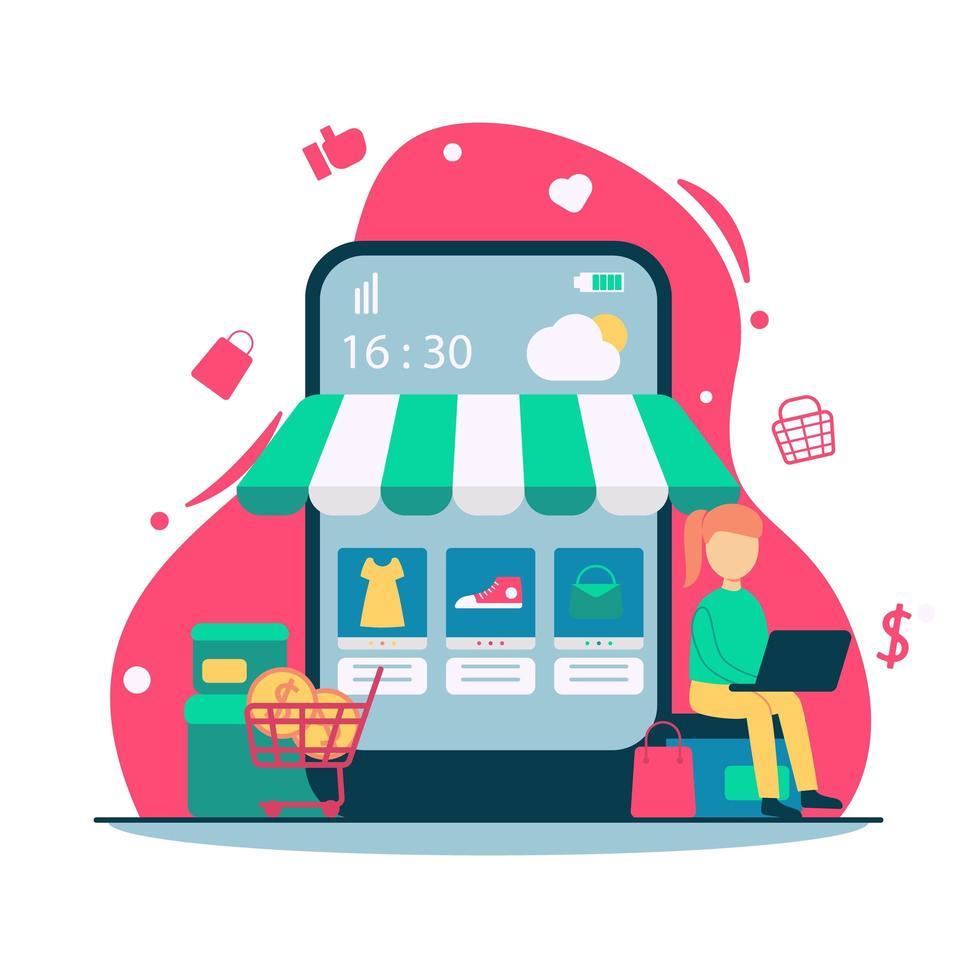 concept de magasinage en ligne e commerce vecteur