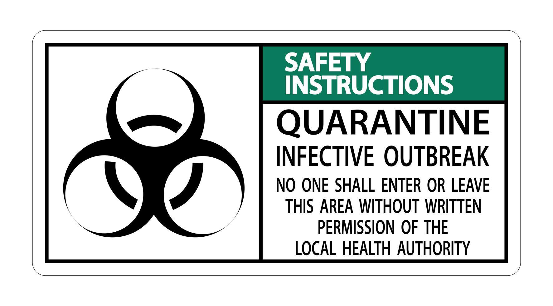Señal de '' instrucciones de seguridad cuarentena brote infeccioso '' vector