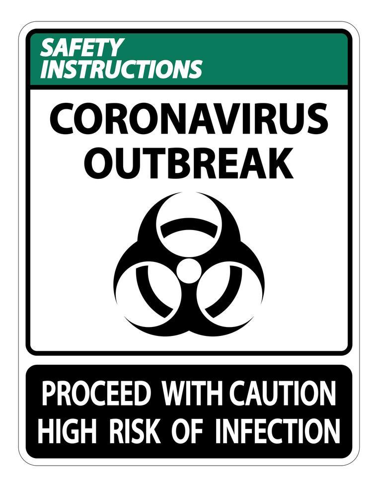 El signo '' brote de coronavirus '' aísla en blanco vector