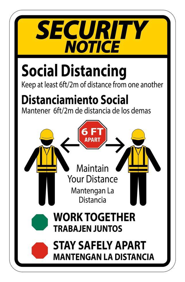''Security Notice Bilingual Social Distancing'' Construction Sign vector