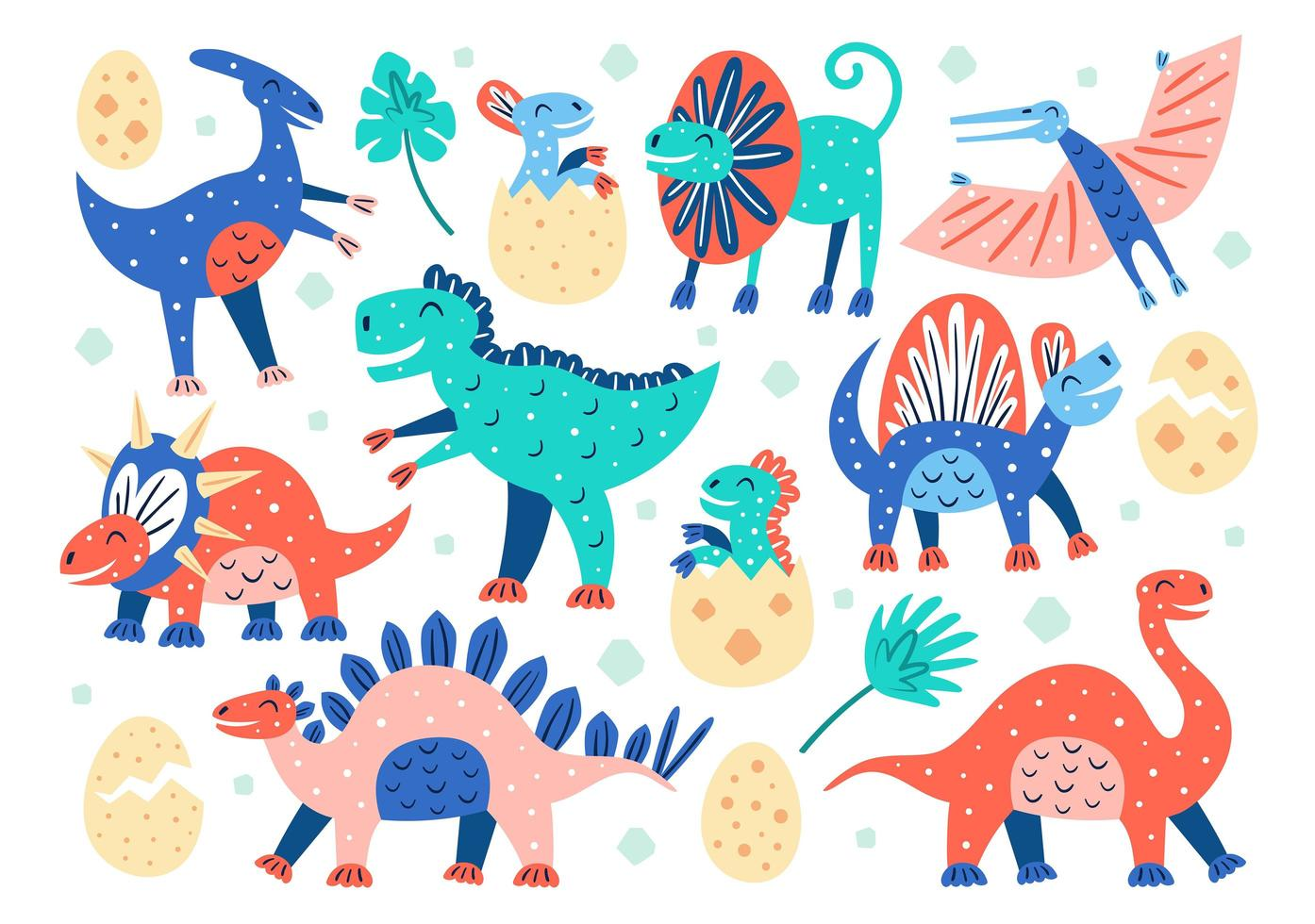 Set of Little Doodled Dinosaurs vector