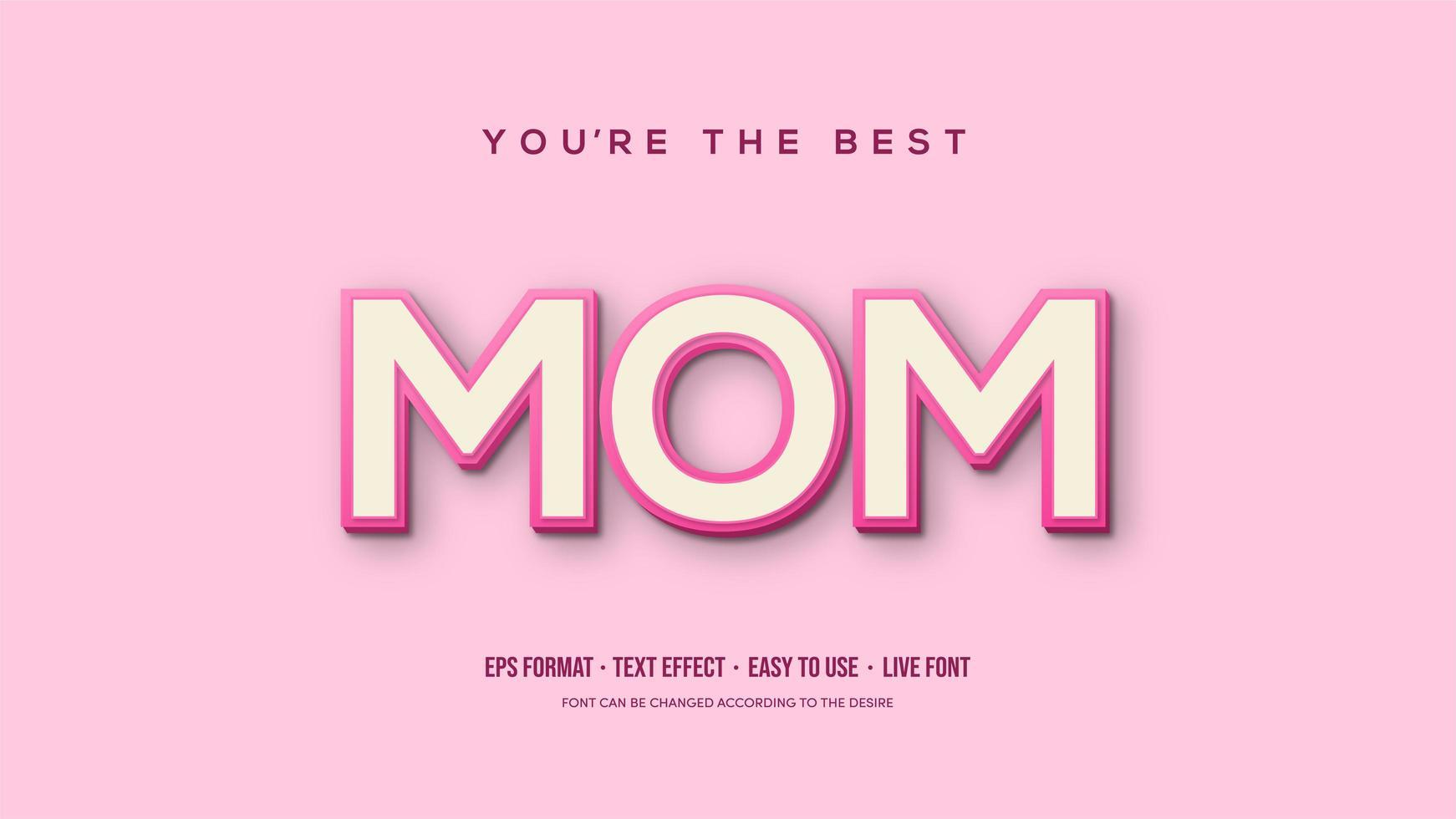 efecto de texto con mamá rosa suave vector