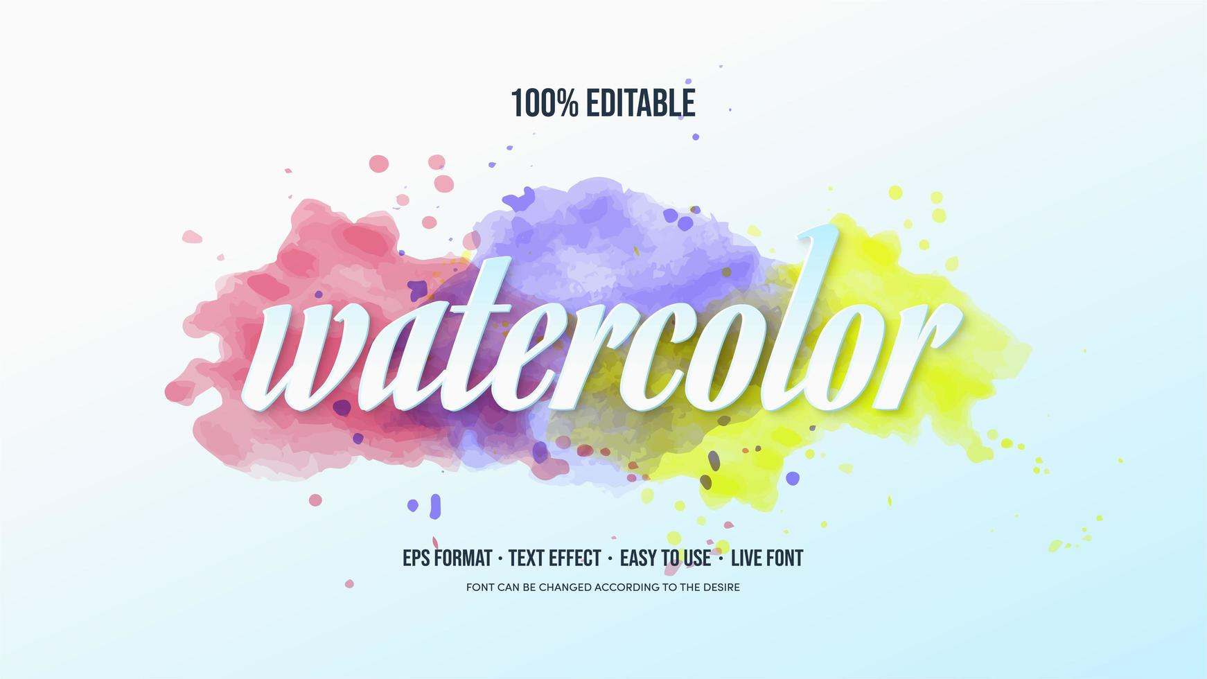 Text effect with colorful watercolor vector