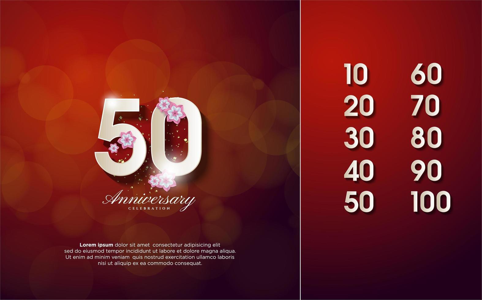 las figuras de celebración son del 10 al 100 con números y flores blancos en 3D vector