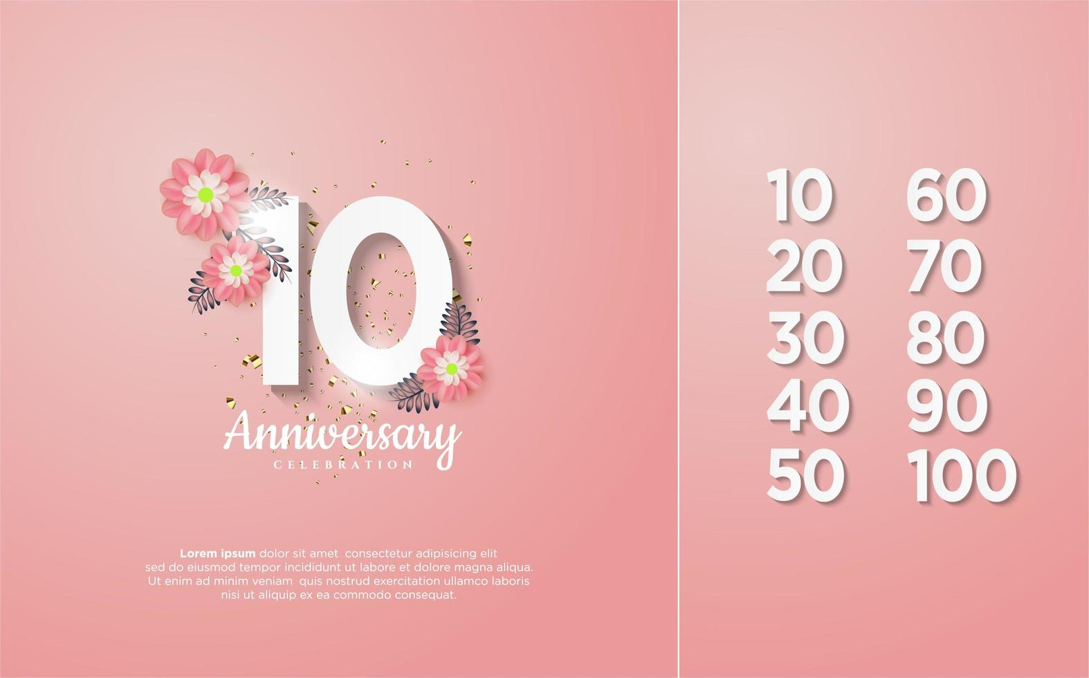 The celebration figures are from 10-100 with white numbers vector