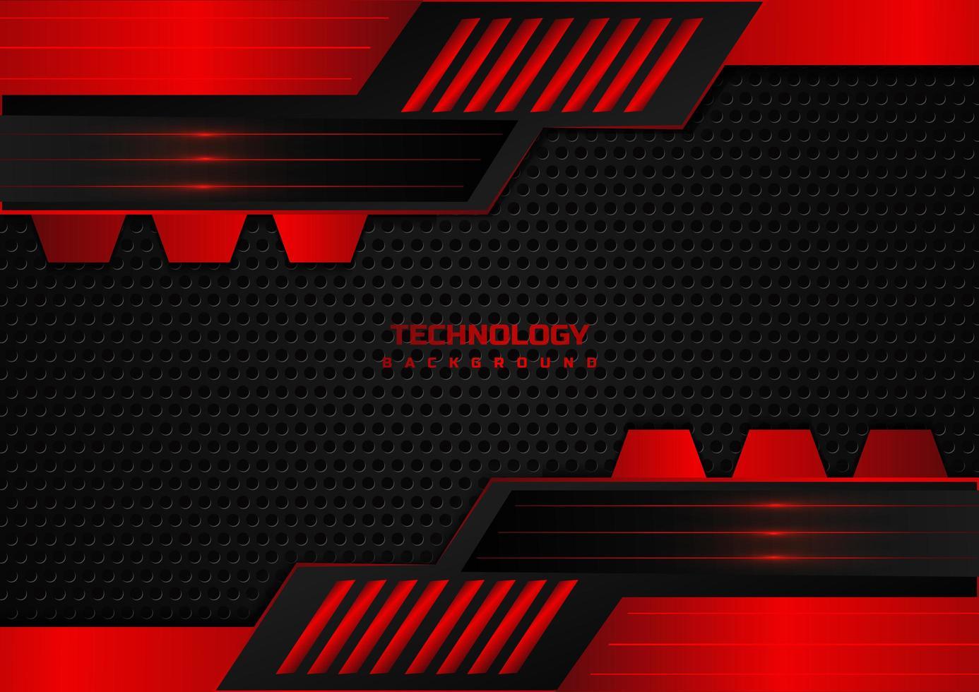 tecnología abstracta fondo rojo y negro geométrico vector