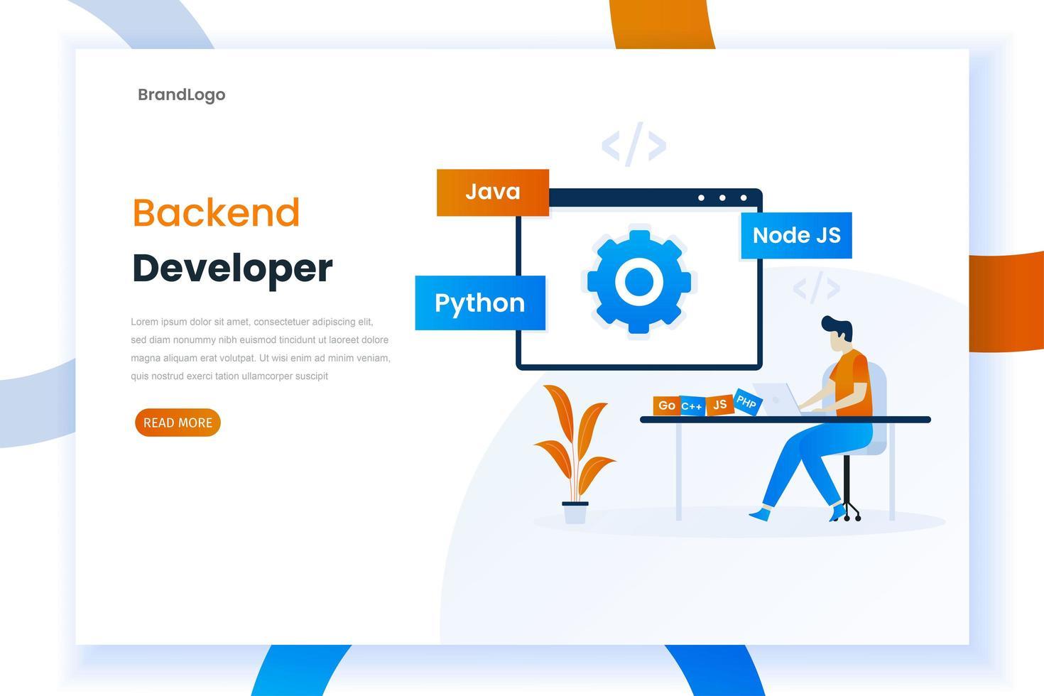 lenguajes de programación de desarrollo de backend vector