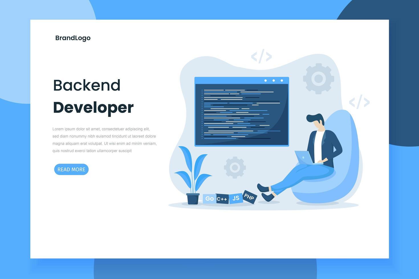página de inicio del desarrollador de backend de diseño plano vector