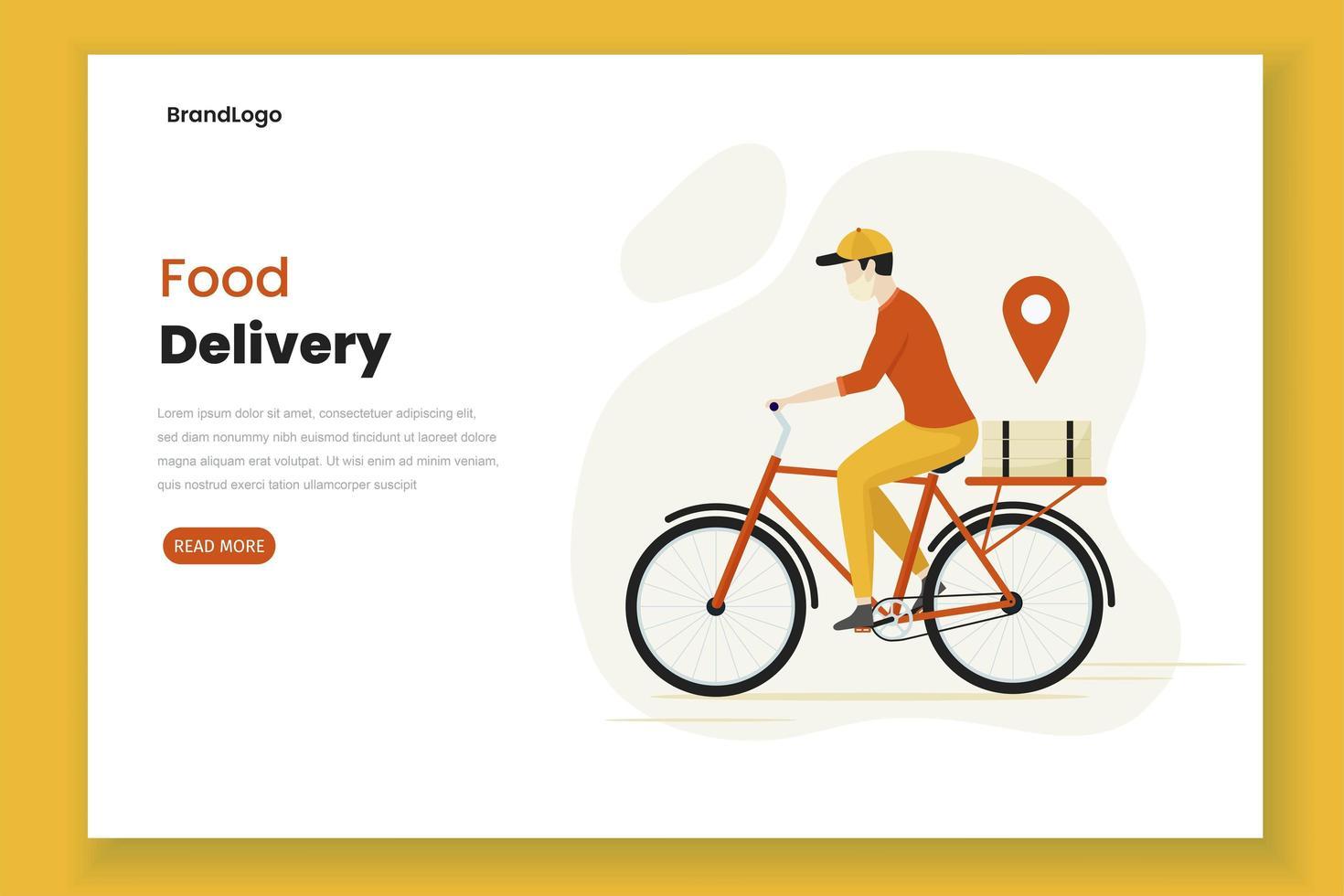 diseño plano repartidor de comida hombre página vector
