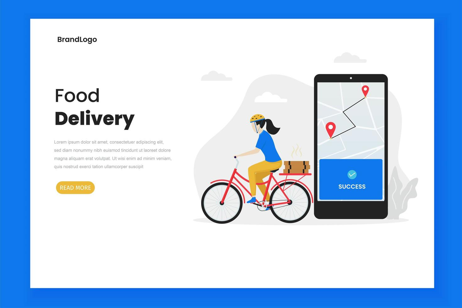 Food delivery landing page vector