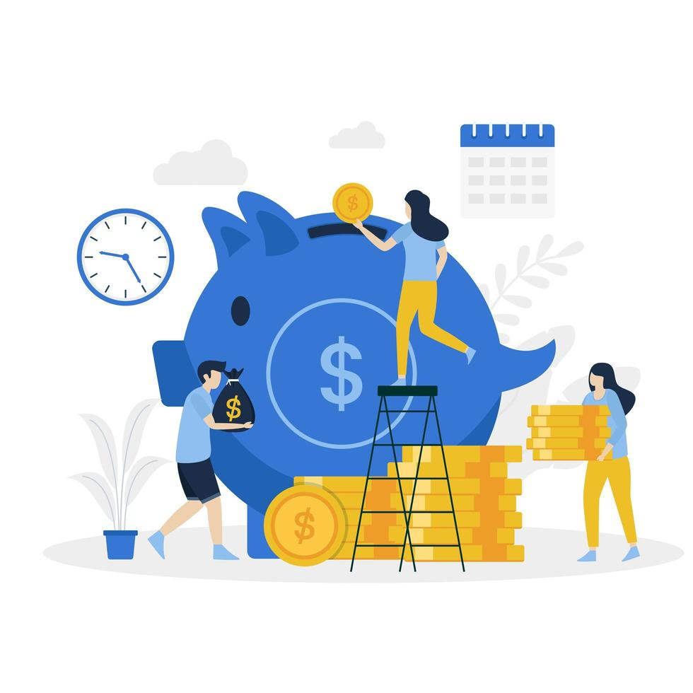 Money pig saving landing page vector