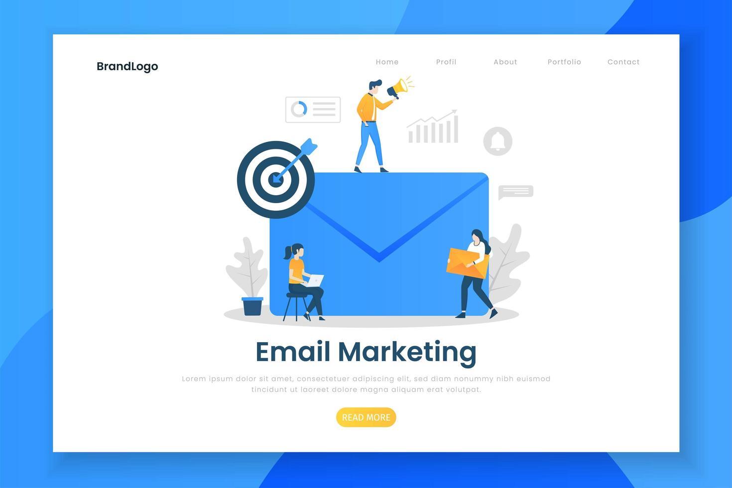 concepto de diseño plano moderno de marketing por correo electrónico vector