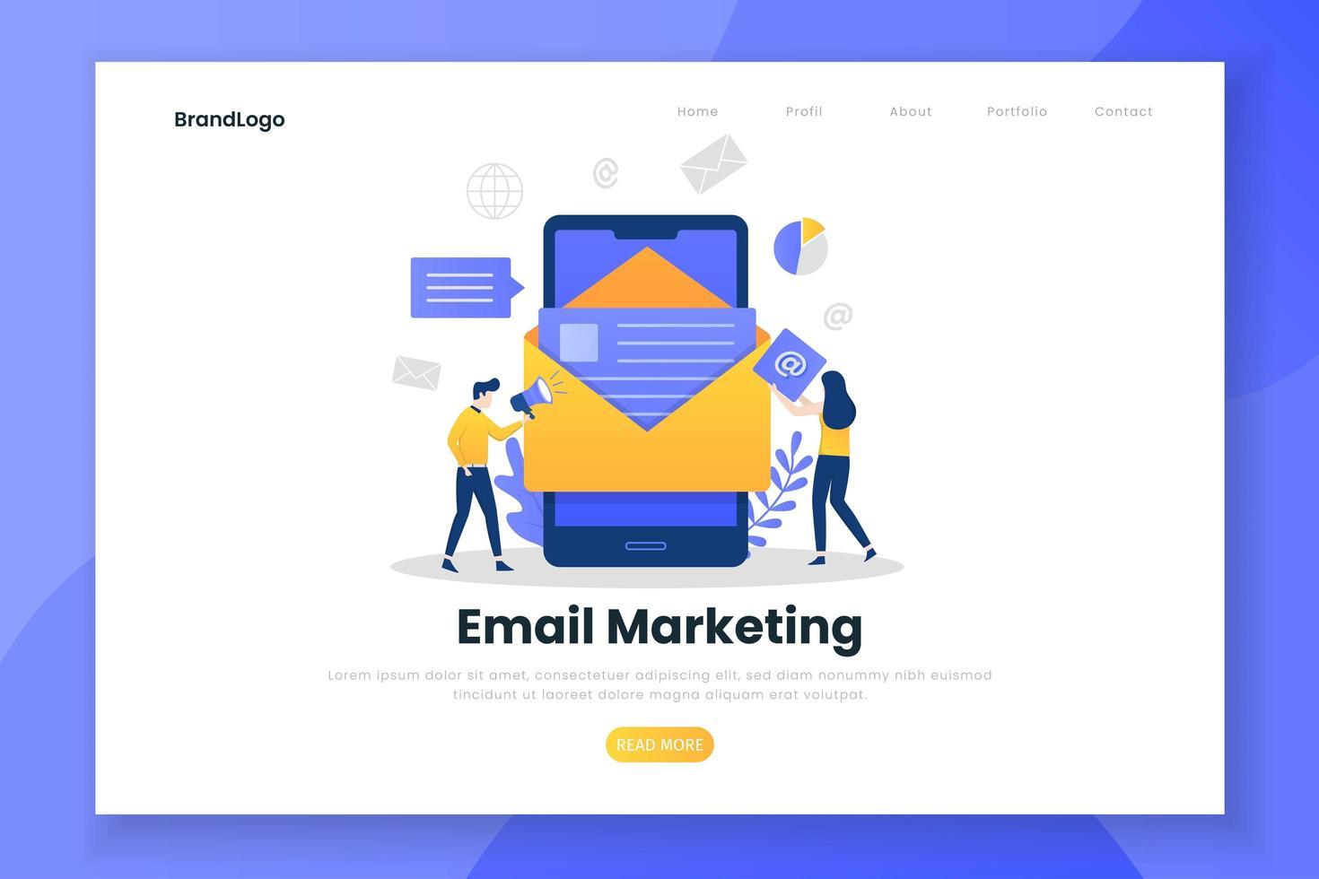 plantilla de página de aterrizaje de email marketing vector