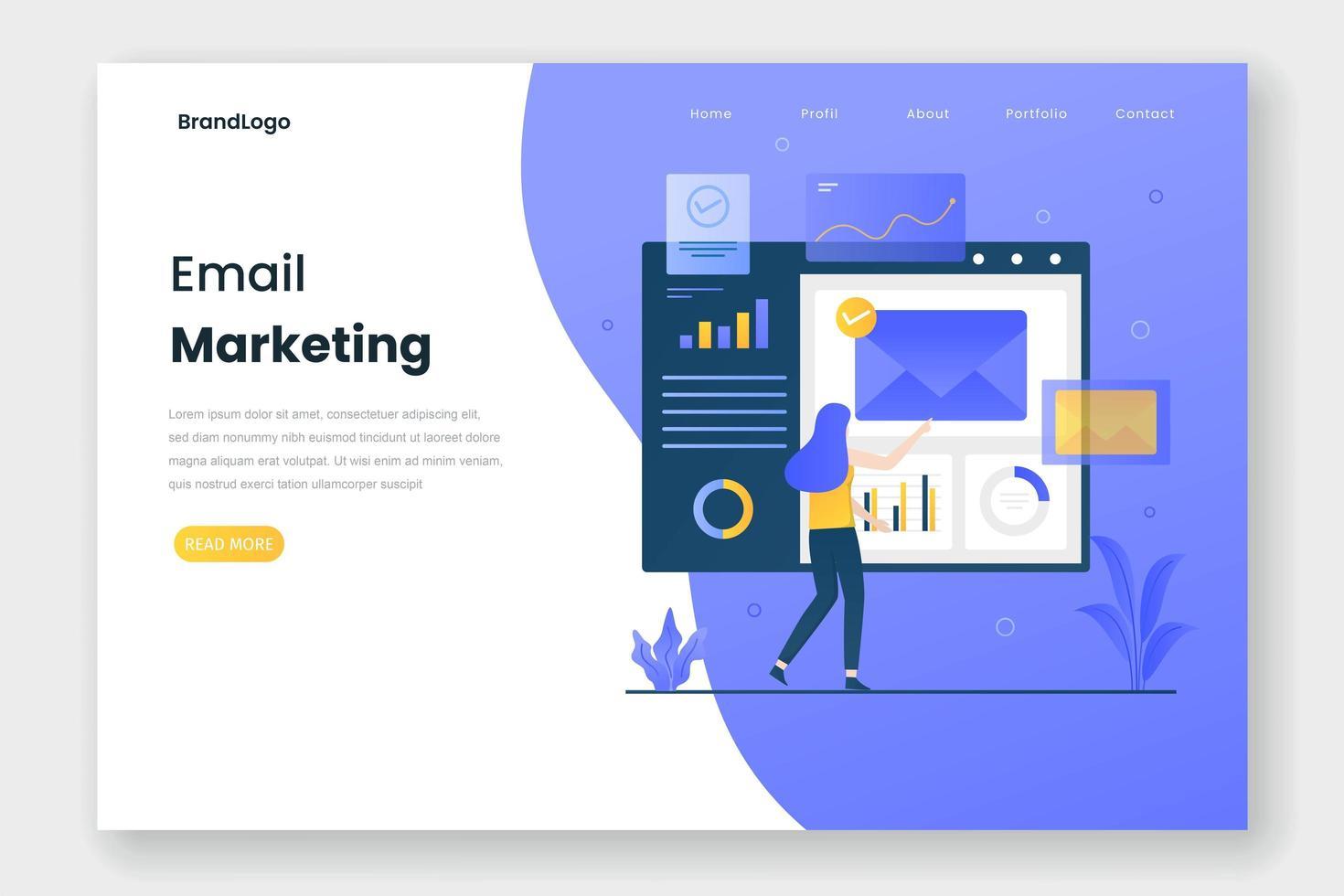página de inicio de marketing por correo electrónico vector