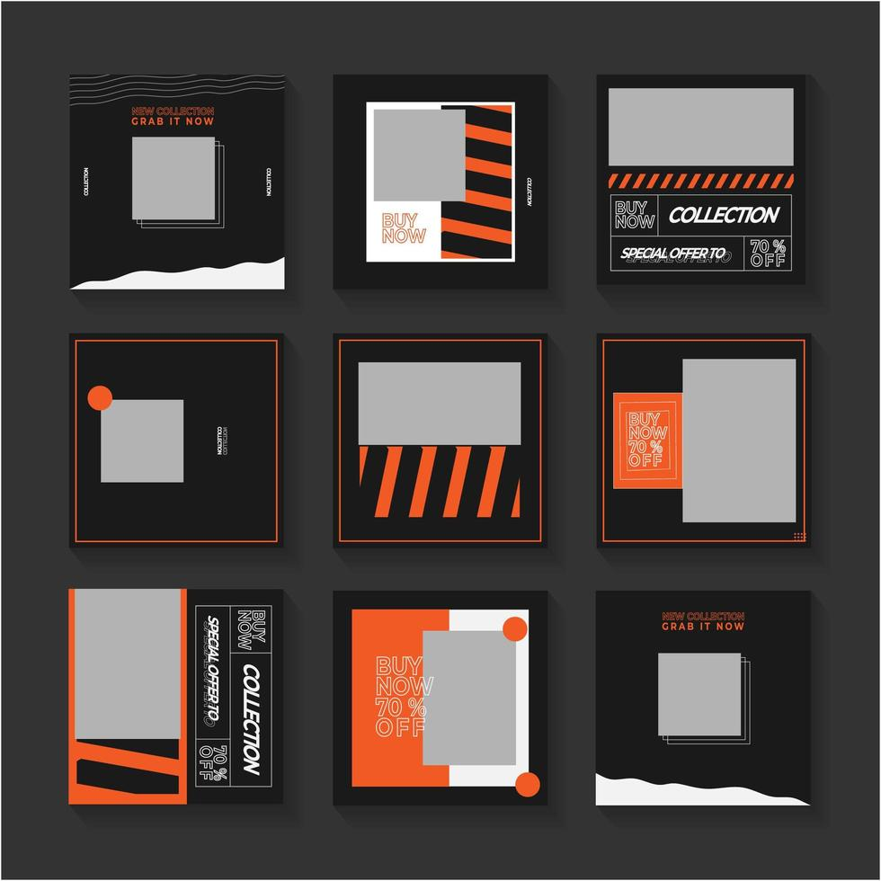 Black and Orange Social Media Post Set vector