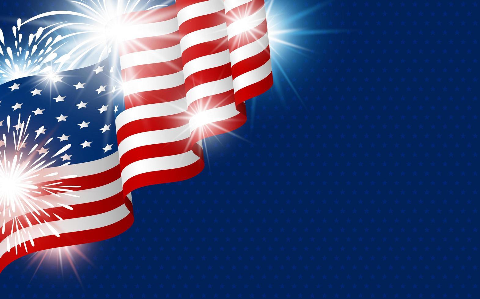 Bandera de Estados Unidos con fuegos artificiales en estrella vector