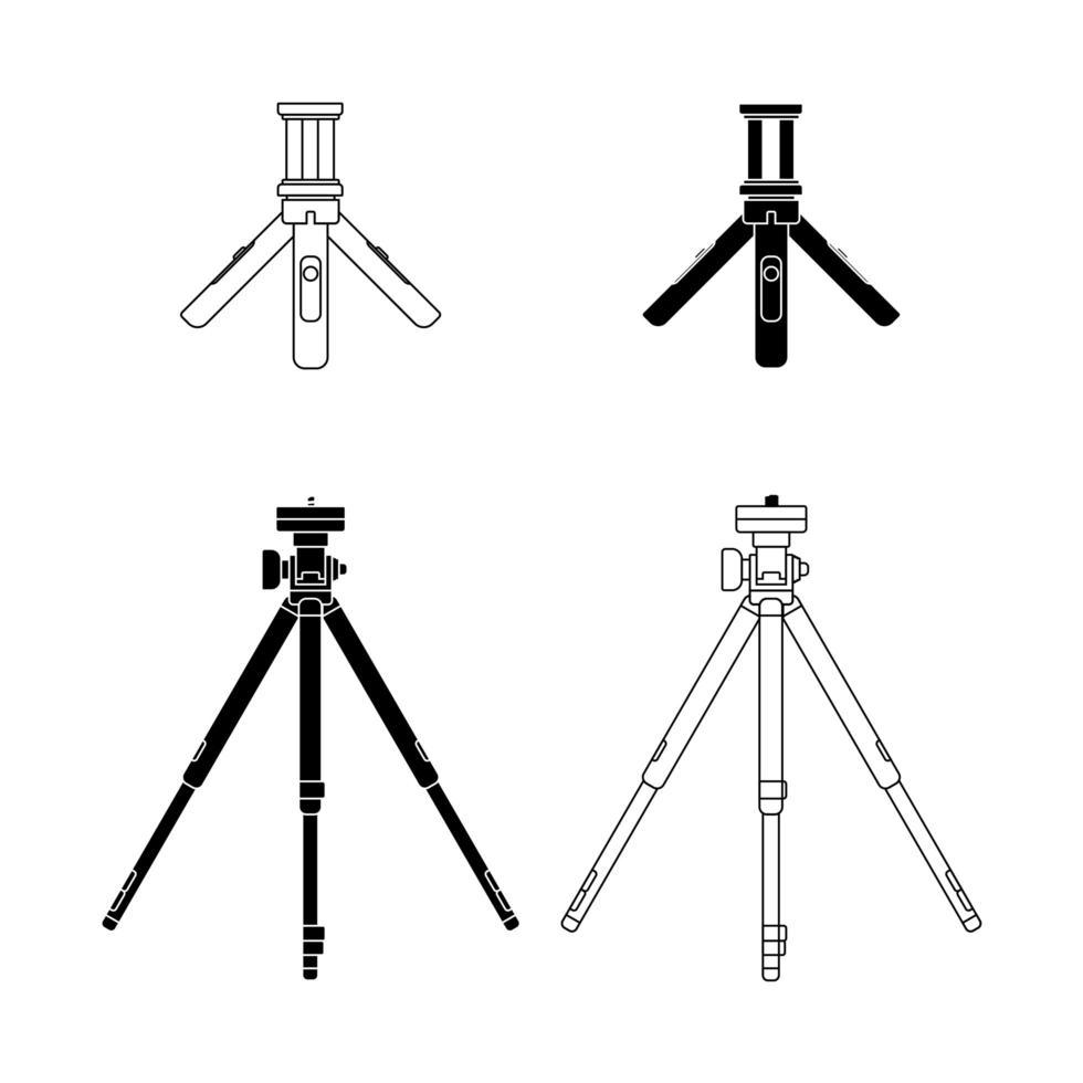 conjunto de trípodes de cámara vector