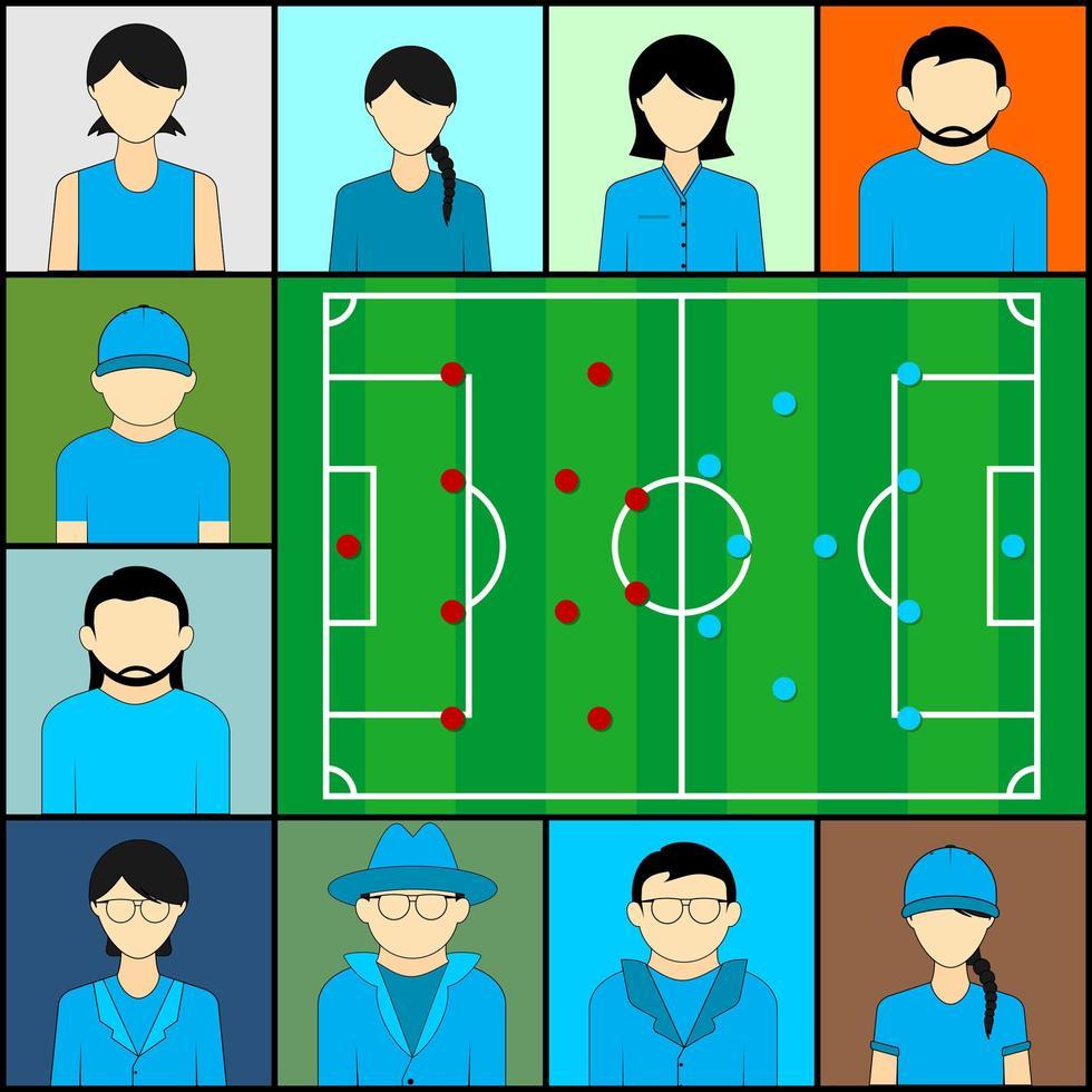 equipo azul viendo fútbol en video teleconferencia vector