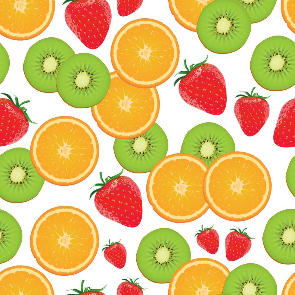 Seamless orange, kiwi strawberry pattern vector