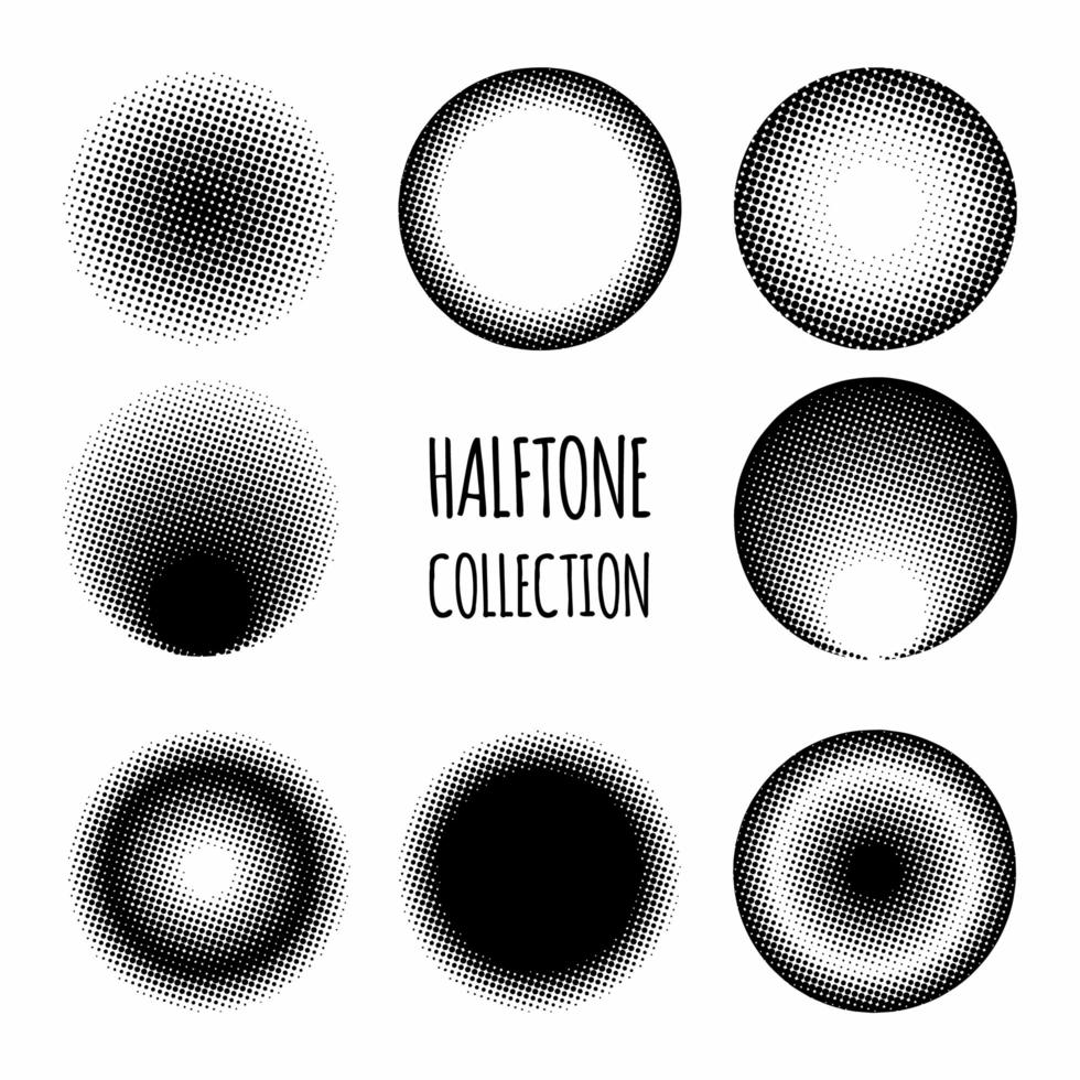 Circle halftone pattern collection vector