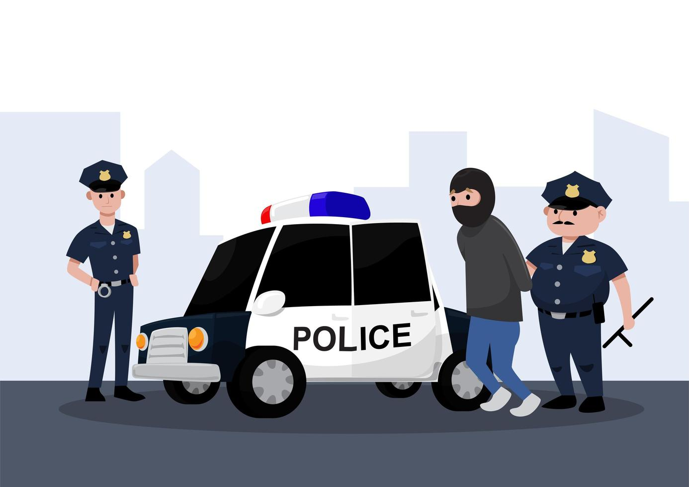 oficiales de policía arrestando a alguien vector