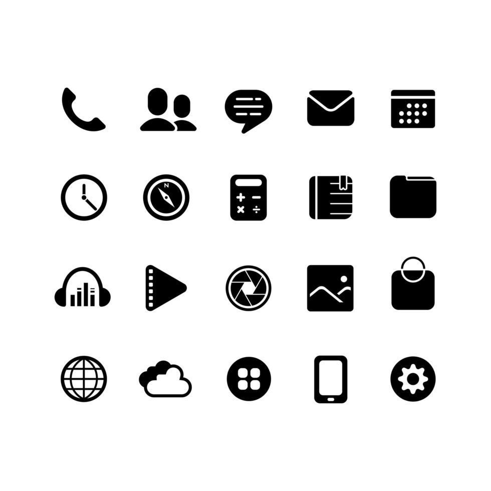 conjunto de iconos de aplicaciones para teléfonos inteligentes vector