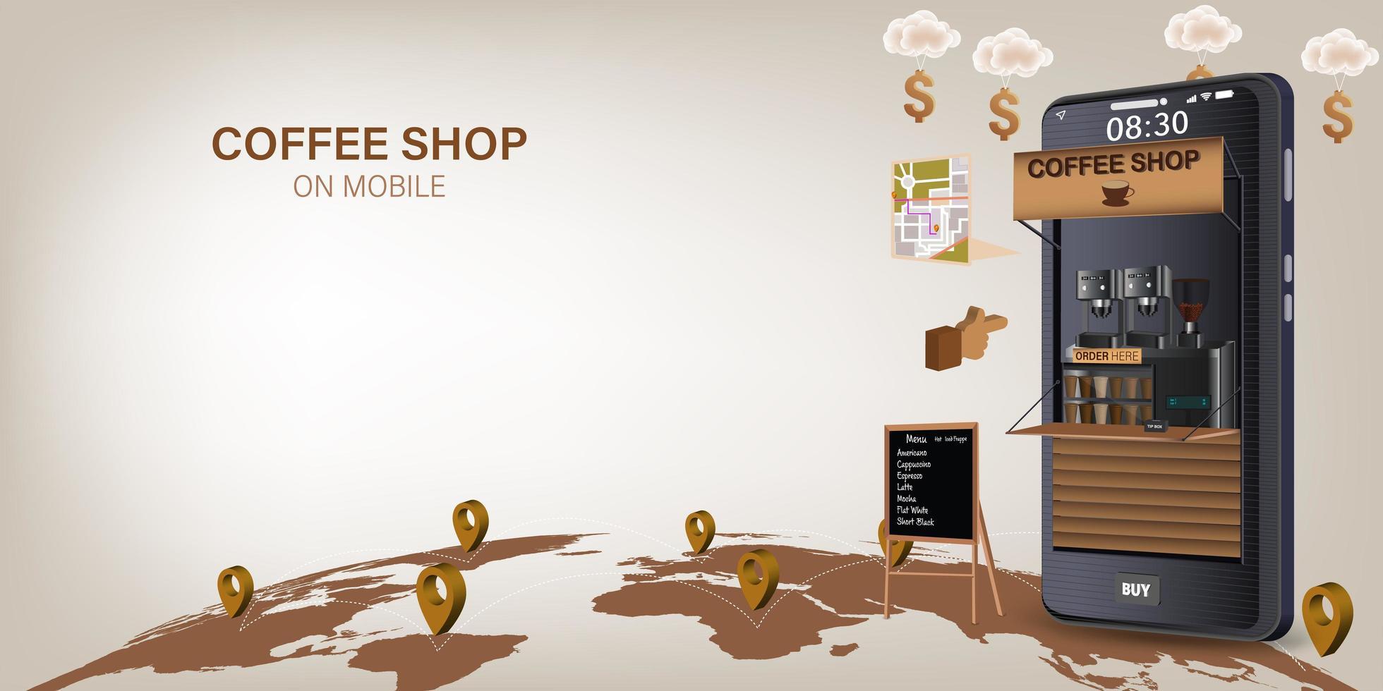 entrega de cafetería en línea en el móvil o sitio web vector