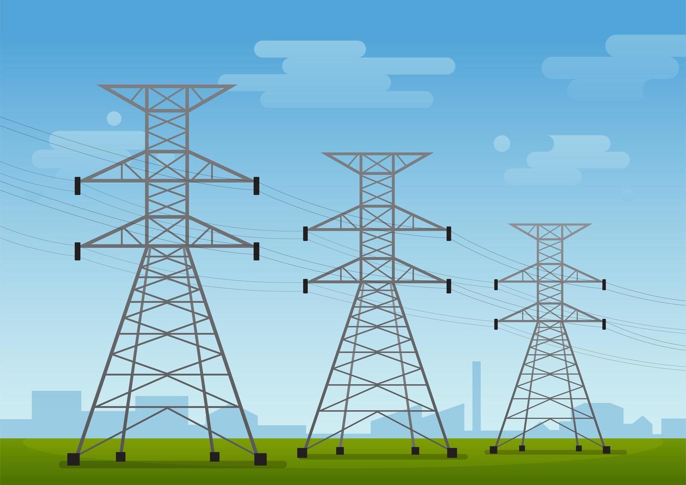 High voltage poles vector