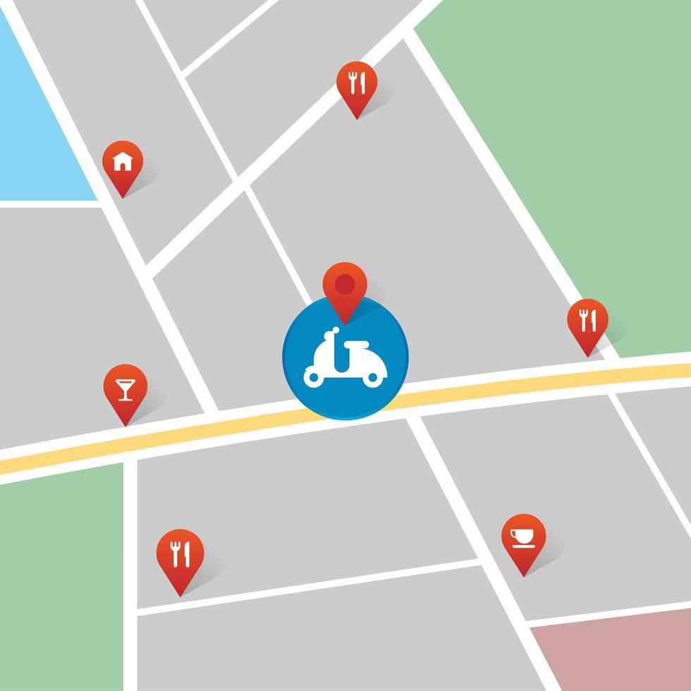 icono de motocicleta en el mapa vector