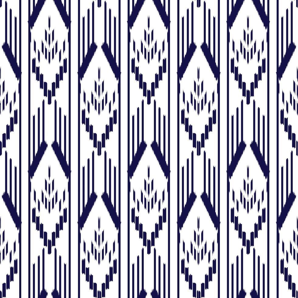 patrón sin costuras ikat azul y blanco vector