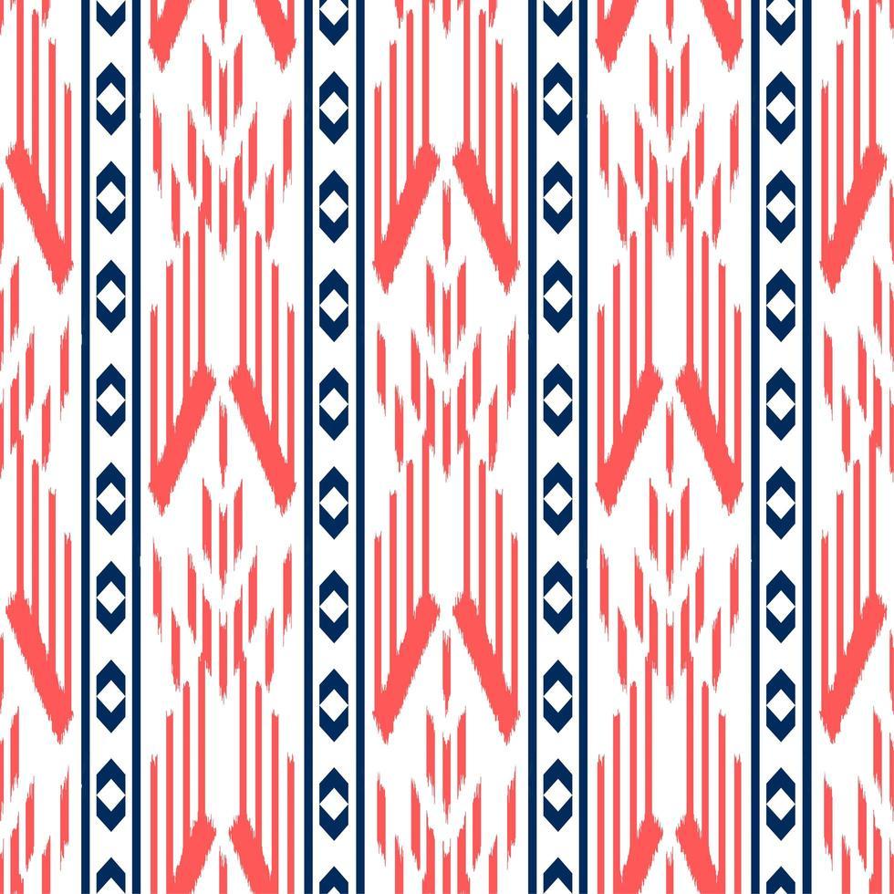 patrón étnico decorativo transparente rojo, blanco y azul vector