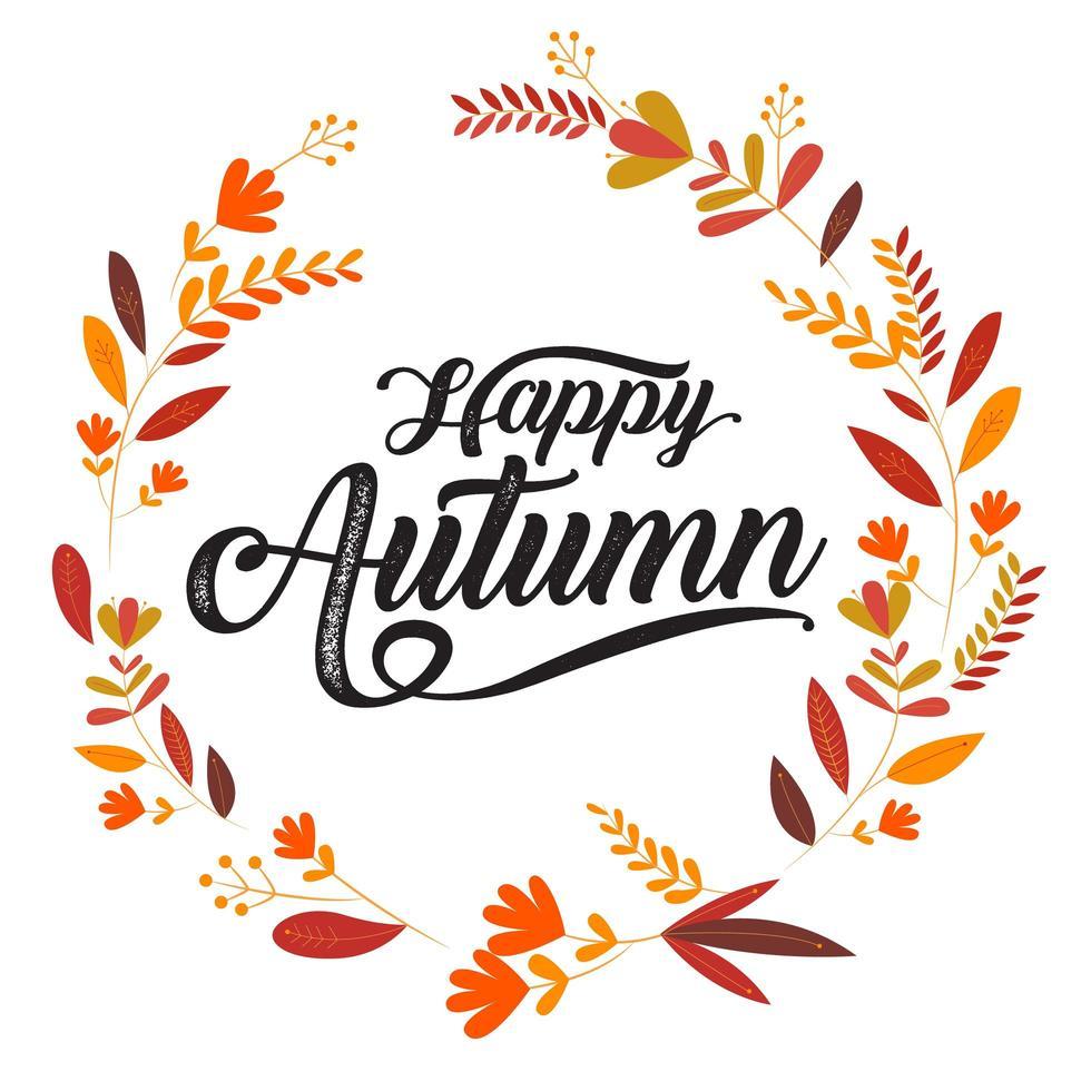 Feliz otoño tipografía en marco de hoja de círculo vector