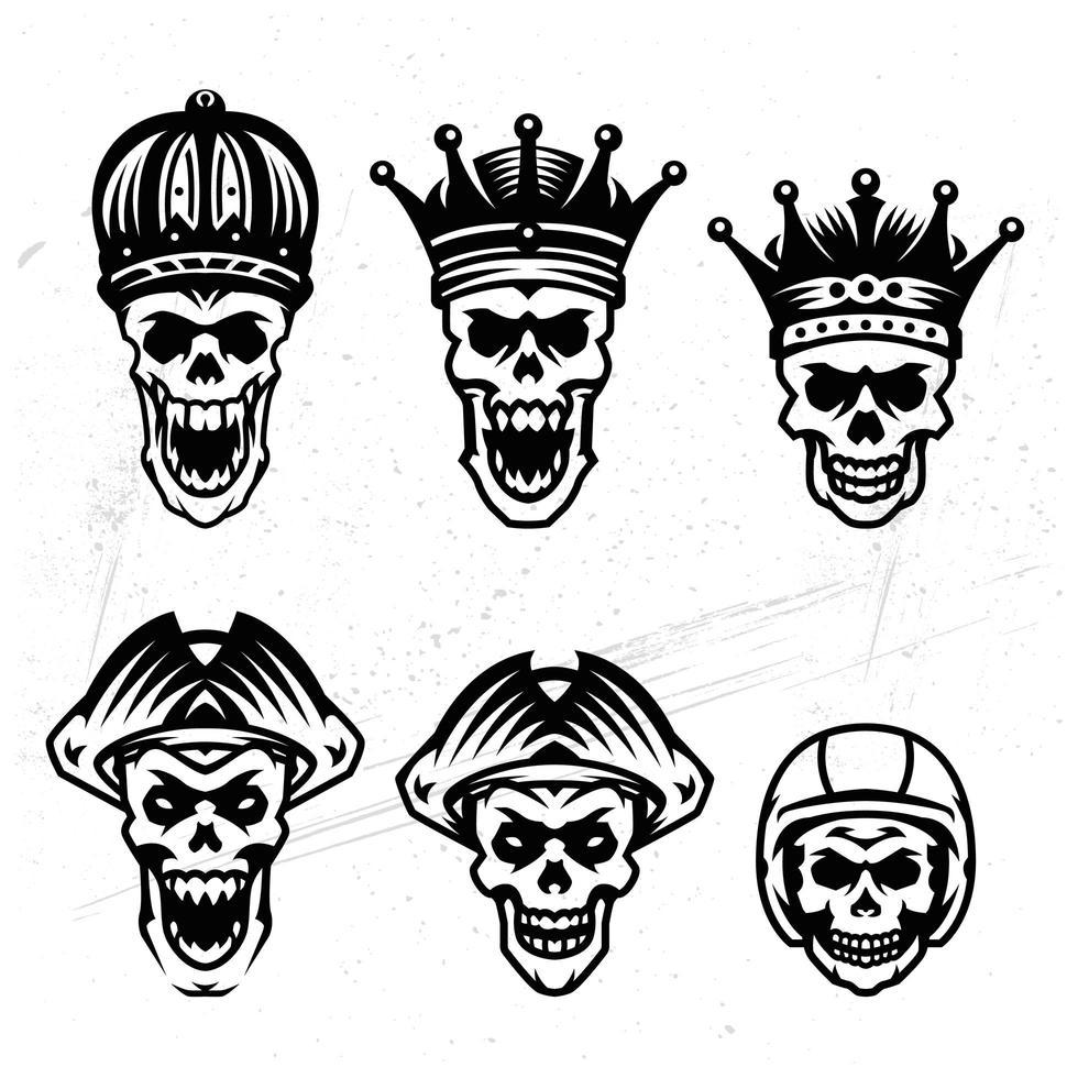 conjunto de cabeza de calavera vintage vector