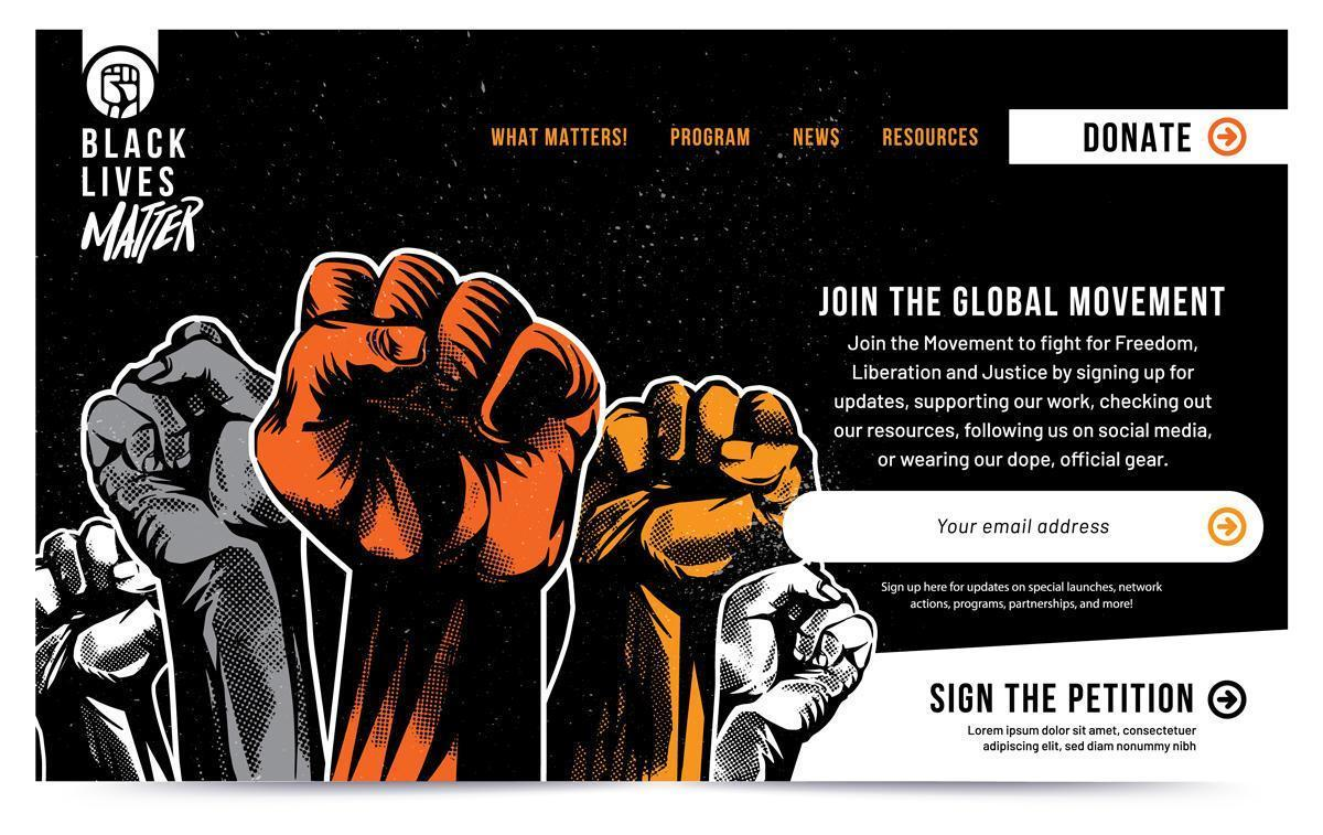 Black Lives Matter Raised Fist Landing Page vector