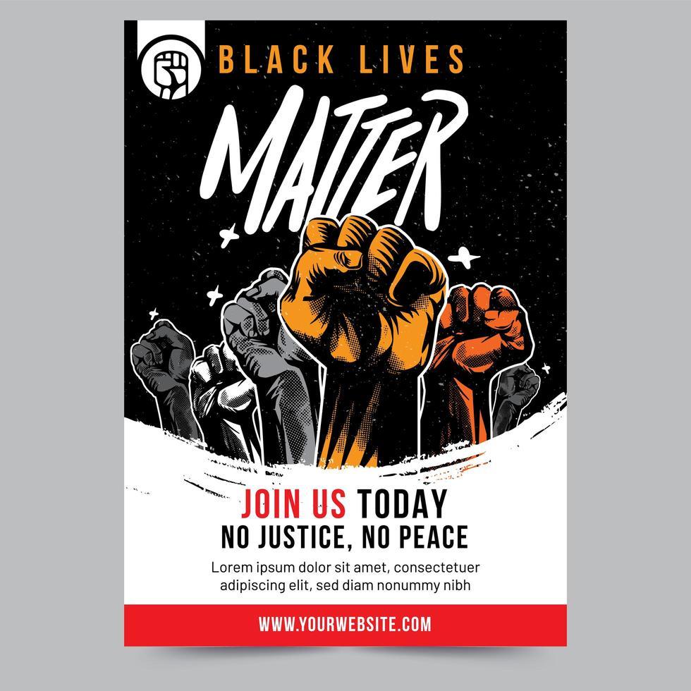 Black Lives Matter Raised Fist Flyer vector