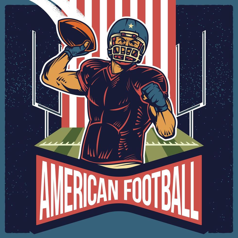 Cartel retro de fútbol americano lanzando un pase vector