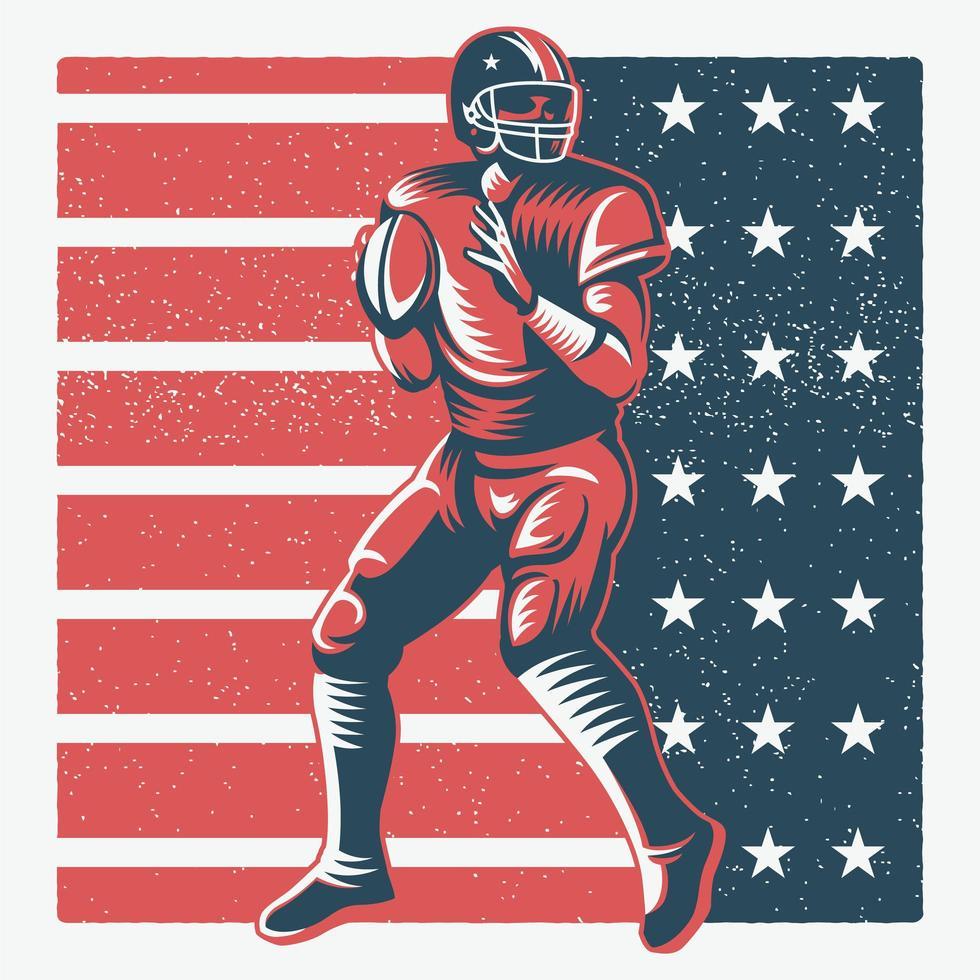 lanzar jugador de fútbol americano sobre bandera americana vector