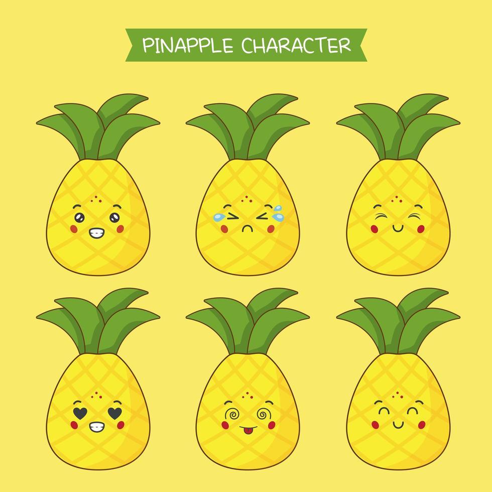 lindo conjunto de personajes de piña vector