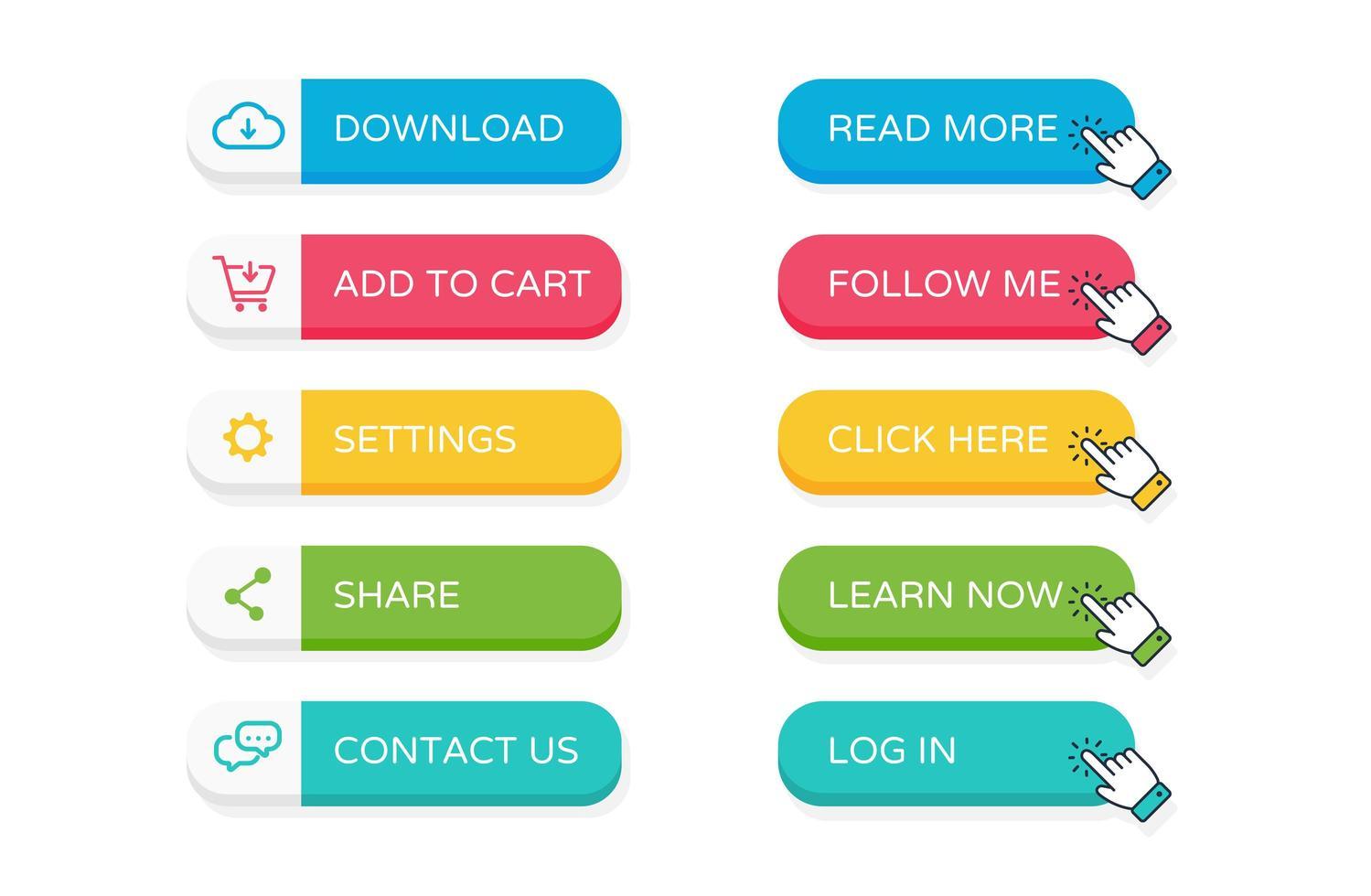 botones planos del sitio web vector