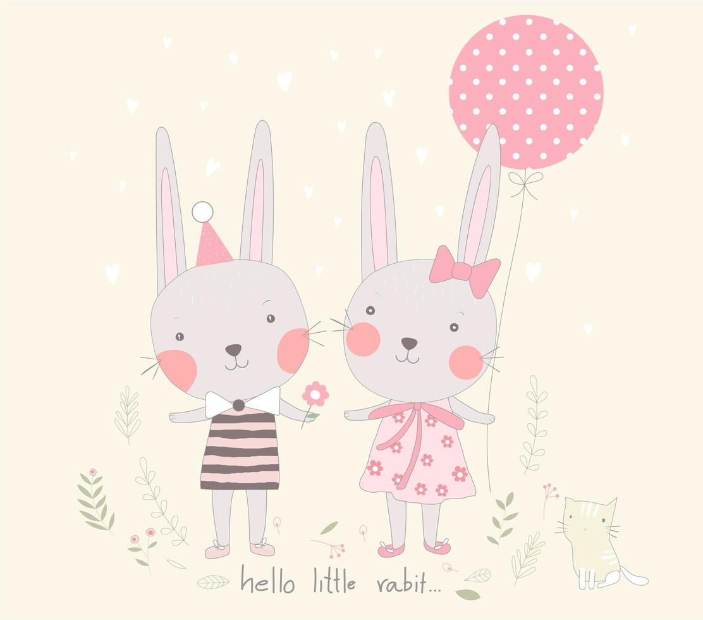 novios de conejo con globo vector