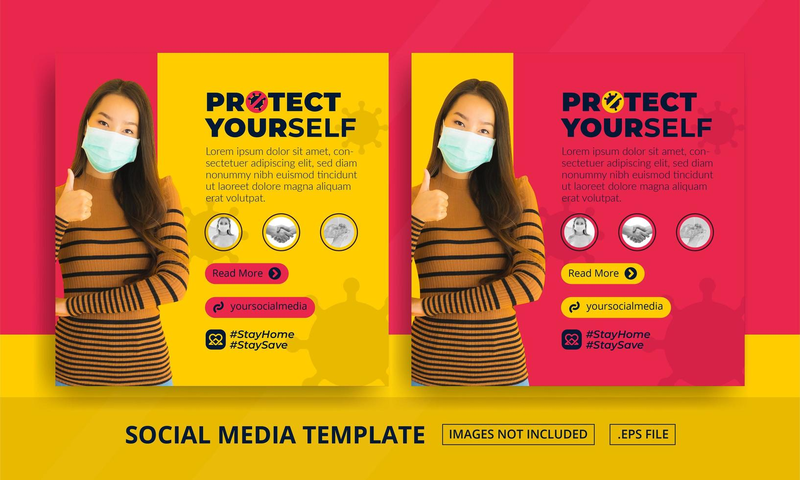 rojo y amarillo protégete publicaciones en redes sociales vector
