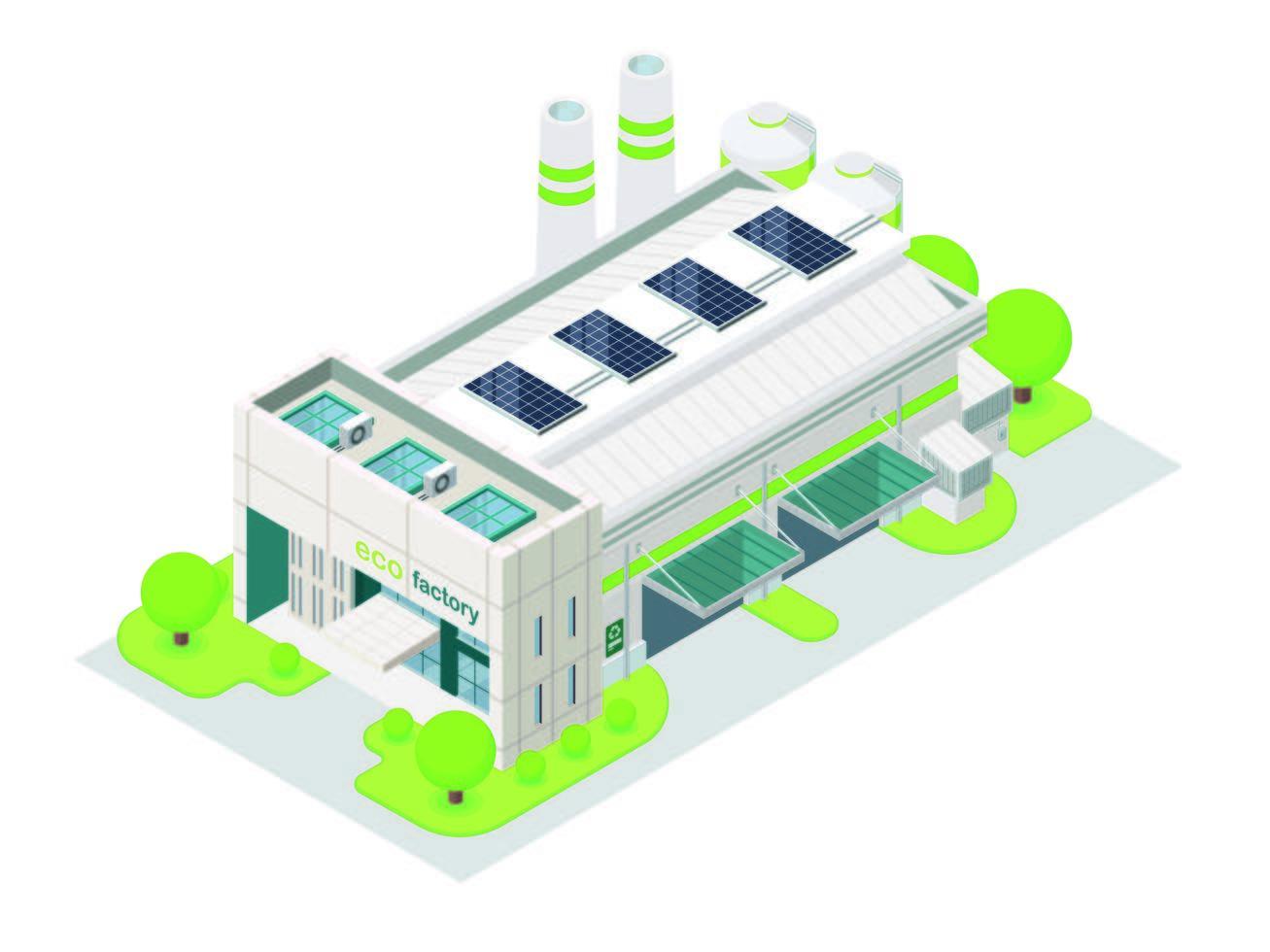 fábrica de ahorro de energía vector