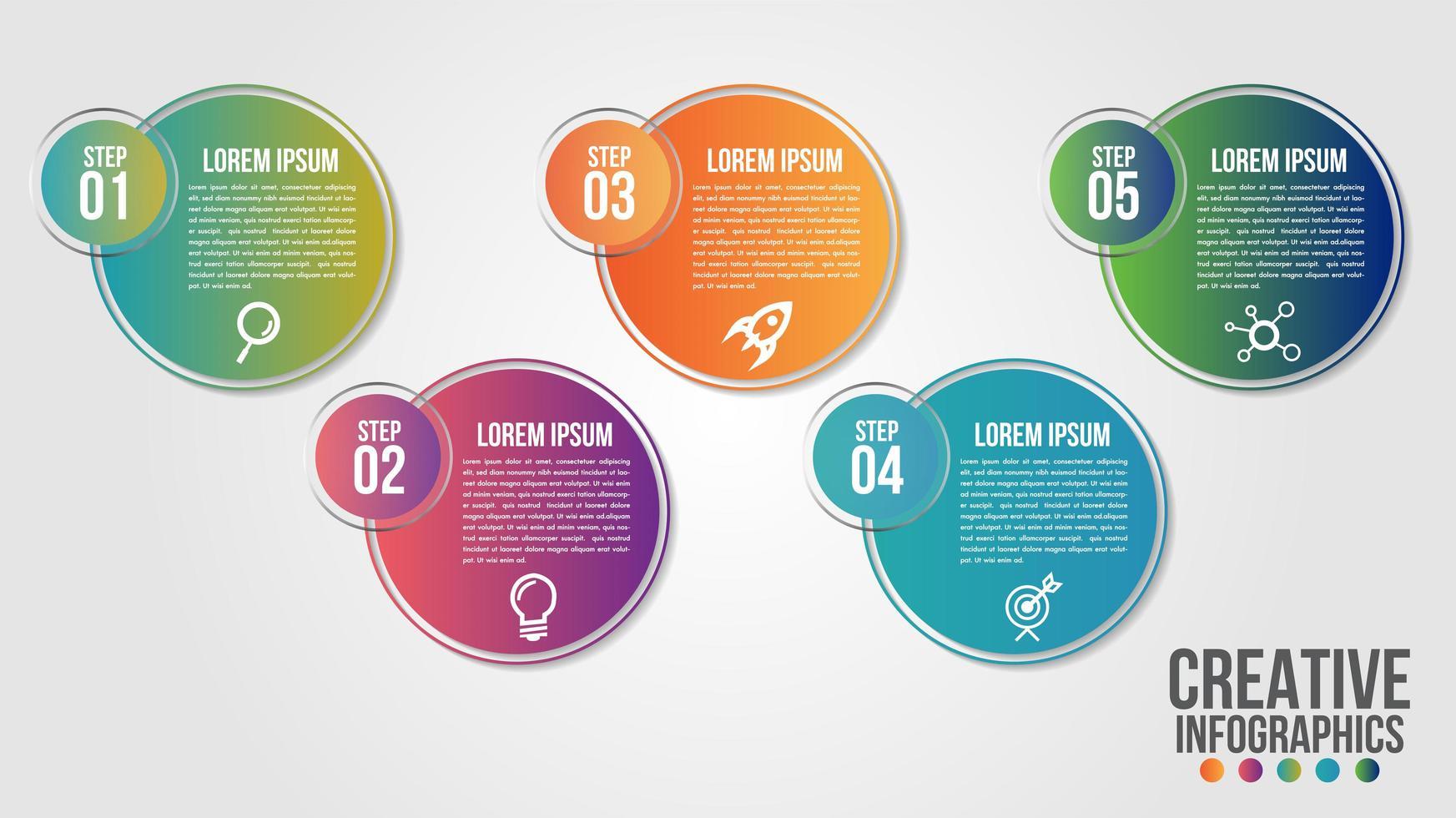 Círculo en círculo 5 pasos gradiente infografía vector