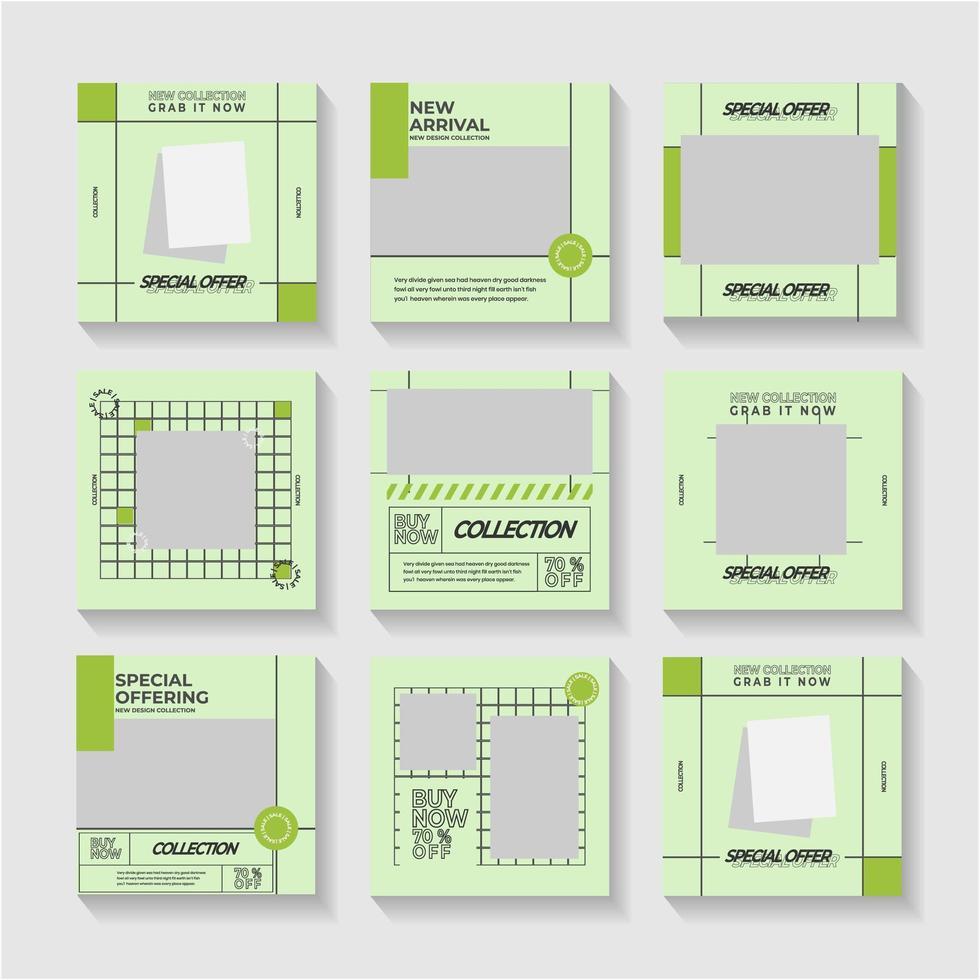Green social media post or ad templates vector
