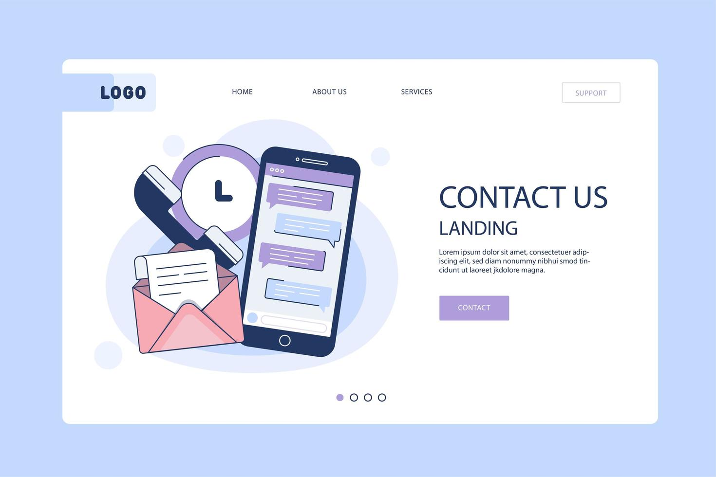 Contact Us Landing Page Template vector
